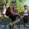 Greg Jackson, left, chats with Chris Dyas at the East Park breakfast stop during Bike To Work Day on Wednesday.<br /> <br /> June 22, 2011<br /> staff photo/David R. Jennings
