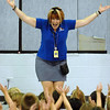 "Principal Tracy Stegall leads the students in the ""YMCA"" song during the Welcome Rally at Birch Elementary School on Friday.<br /> <br /> August 21, 2009<br /> staff photo/David R. Jennings"