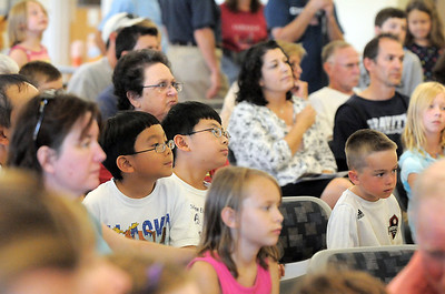 The audience of over 150 listen and watch the  Birds of Prey Foundation's presentation for the Broomfield Open Space Foundation at the Broomfield Community Center on Saturday. September 24, 2011 staff photo/ David R. Jennings