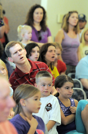 The audience of over 150 listens and watches the Birds of Prey Foundation presentation for the Broomfield Open Space Foundation at the Broomfield Community Center on Saturday.<br /> September 24, 2011<br /> staff photo/ David R. Jennings