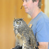 Jon Lutz talks about Frosty, a Great Horned Owl,  during the  Birds of Prey Foundation presentation for the Broomfield Open Space Foundation at the Broomfield Community Center on Saturday.<br /> September 24, 2011<br /> staff photo/ David R. Jennings
