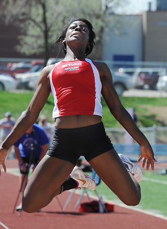 Skyline's Deandra Elcock in the long jump at the 36th Annual Boulder County Track and Field Championships at Elizabeth Kennedy Stadium in Broomfield on Saturday.<br /> <br /> April 21, 2012 <br /> staff photo/ David R. Jennings