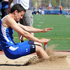 Broomfield's Isaac Wilson in the long jump at the 36th Annual Boulder County Track and Field Championships at Elizabeth Kennedy Stadium in Broomfield on Saturday.<br /> <br /> April 21, 2012 <br /> staff photo/ David R. Jennings