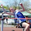 Nola Basey, Lyons, in the high jump at the 36th Annual Boulder County Track and Field Championships at Elizabeth Kennedy Stadium in Broomfield on Saturday.<br /> <br /> April 21, 2012 <br /> staff photo/ David R. Jennings