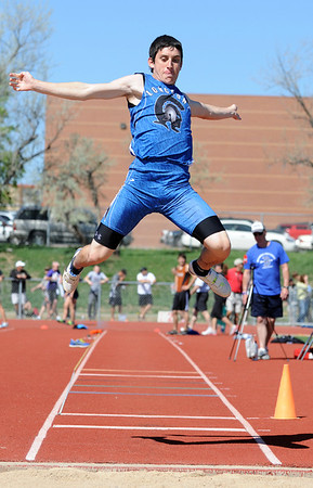 Longmont's Braden Hitchcock in the long jump at the 36th Annual Boulder County Track and Field Championships at Elizabeth Kennedy Stadium in Broomfield on Saturday.<br /> <br /> April 21, 2012 <br /> staff photo/ David R. Jennings
