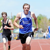 Ryan Boucher, Lyons, in the 400m dash at the 36th Annual Boulder County Track and Field Championships at Elizabeth Kennedy Stadium in Broomfield on Saturday.<br /> <br /> April 21, 2012 <br /> staff photo/ David R. Jennings