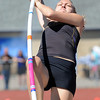 Boulder's Zoe Robb in the pole vault at the 36th Annual Boulder County Track and Field Championships at Elizabeth Kennedy Stadium in Broomfield on Saturday.<br /> <br /> April 21, 2012 <br /> staff photo/ David R. Jennings