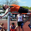 Erie's Nicole Hulet in the high jump at the 36th Annual Boulder County Track and Field Championships at Elizabeth Kennedy Stadium in Broomfield on Saturday.<br /> <br /> April 21, 2012 <br /> staff photo/ David R. Jennings