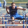 Longmont's Josh Cogdill in the 110m hurdles at the 36th Annual Boulder County Track and Field Championships at Elizabeth Kennedy Stadium in Broomfield on Saturday.<br /> <br /> April 21, 2012 <br /> staff photo/ David R. Jennings