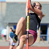 Silver Creek's Jade Vandersteen in the pole vault at the 36th Annual Boulder County Track and Field Championships at Elizabeth Kennedy Stadium in Broomfield on Saturday.<br /> <br /> April 21, 2012 <br /> staff photo/ David R. Jennings