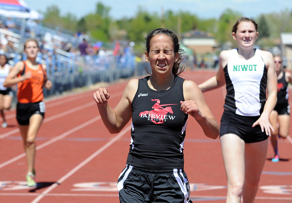 Fairview's Heather Harrower in the 400m dash at the 36th Annual Boulder County Track and Field Championships at Elizabeth Kennedy Stadium in Broomfield on Saturday.<br /> <br /> April 21, 2012 <br /> staff photo/ David R. Jennings