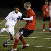 "Boulder High School's Luis Castrulta fights for the ball with Jack Mayfield during a semi-final game against Fairview High School on Wednesday, Nov. 7, at Legacy Stadium in Aurora. For more photos of the game go to  <a href=""http://www.dailycamera.com"">http://www.dailycamera.com</a><br /> Jeremy Papasso/ Camera"