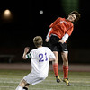 "Fairview High School's Zach Lokay heads the ball over Lake Brant during a semi-final game against Boulder High School on Wednesday, Nov. 7, at Legacy Stadium in Aurora. For more photos of the game go to  <a href=""http://www.dailycamera.com"">http://www.dailycamera.com</a><br /> Jeremy Papasso/ Camera"