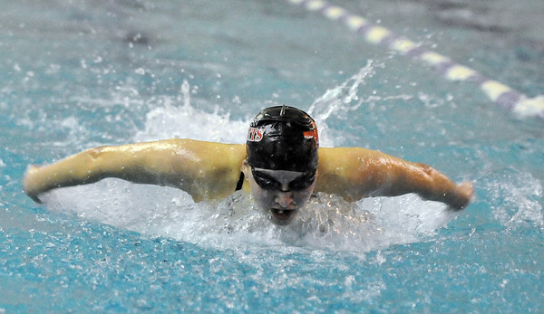 BHFVSWIM<br /> Fairview's Lauren Rigg swims the 50 butterfly during a Boulder High vs. Fairview swim meet on Thursday.<br /> Photo by Marty Caivano/Camera/Jan. 7, 2010