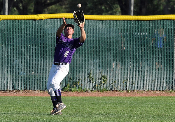 "Dylan Platt of Boulder makes the catch for the out against the Lobos.<br /> For  more photos of the game, go to  <a href=""http://www.dailycamera.com"">http://www.dailycamera.com</a>.<br /> Cliff Grassmick  / August 4, 2012"