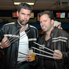 Michael Ball and Dave Mayer at Friday's Bowling for Breast Cancer fundraiser at Chipper Lanes in Broomfield.<br /> October 30, 2009<br /> Staff /Dylan Otto Krider