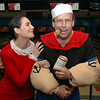Carolina Pilonieta and Chris Sweeney pose at Friday's Bowling for Breast Cancer fundraiser at Chipper Lanes in Broomfield.<br /> October 30, 2009<br /> Staff /Dylan Otto Krider