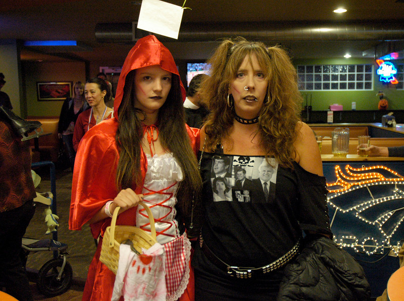 Little Dead Riding Hood (Sadie Trigg) and The Dead Kennedy's (Nancy Trigg) at Friday's Bowling for Breast Cancer fundraiser at Chipper Lanes in Broomfield.<br /> October 30, 2009<br /> Staff /Dylan Otto Krider