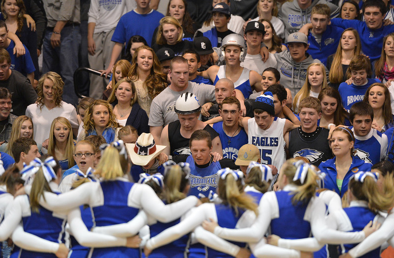 Broomfield's fans chant a cheer during the cross town rivalry boys game at Holy Family on Friday.<br /> December 21, 2012<br /> staff photo/ David R. Jennings