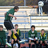 Niwot's Grant Webster does a header against Broomfield during Thursday's game at Elizabeth Kennedy Stadium.<br /> October 4, 2012<br /> staff photo/ David R. Jennings
