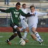 Niwot's Alexander Merritt fights for control of the ball with  Broomfield's Jacob Bellendir during Thursday's game at Elizabeth Kennedy Stadium.<br /> October 4, 2012<br /> staff photo/ David R. Jennings
