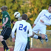 Broomfield's Matt Kaslon does a header near Niwot's goal during Thursday's game at Elizabeth Kennedy Stadium.<br /> October 4, 2012<br /> staff photo/ David R. Jennings
