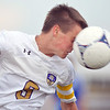 Holy Family's Patrick Borer does a header against  Peak to Peak during Thursday's game at Mike G. Gabriel Stadium<br /> September 27, 2012<br /> staff photo/ David R. Jennings