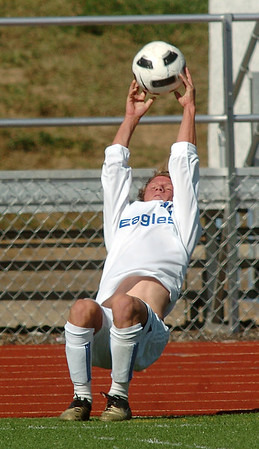 Broomfield's Thomas O'Brien does a flip to throw the ball into play during Saturday's Broomfield vs. Legacy soccer game at Elizabeth Kennedy Stadium.<br /> September 24, 2011<br /> staff photo/ David R. Jennings
