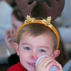 BE1205break05<br /> Charlie Kasic, 5, finishes his drink while wearing antlers during the Broomfield Lions Club Breakfast with Santa on Saturday at the Broomfield Community Center.<br /> <br /> December 4, 2010<br /> staff photo/David R. Jennings