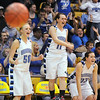 Broomfield's Bre Burgesser, left, Kody Bradfield and Millie Reeves cheer during the class 4A championship game  against Longmont at the Coors Events Center in Boulder on Friday.<br /> <br /> <br /> March 12, 2010<br /> Staff photo/David R. Jennings