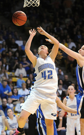 Broomfield's Renae Waters attempts to get to the basketagainst Longmont' during the class 4A championship game at the Coors Events Center in Boulder on Friday.<br /> <br /> <br /> March 12, 2010<br /> Staff photo/David R. Jennings