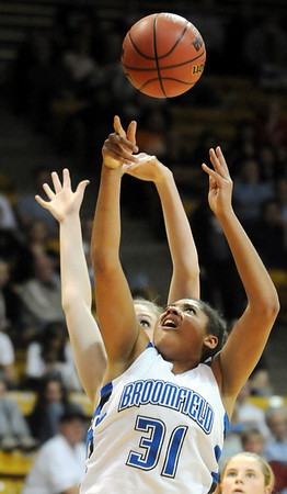 Broomfield's Tyana Medema shoots to the basket against Longmont'during the class 4A championship game at the Coors Events Center in Boulder on Friday.<br /> <br /> <br /> March 10, 2010<br /> Staff photo/David R. Jennings