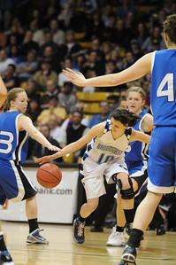 Broomfield's Autumn Chase steals the ball from Longmont's Hannah Kingsbury during the class 4A championship game at the Coors Events Center in Boulder on Friday.   March 10, 2010 Staff photo/David R. Jennings