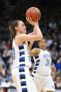 Broomfield's Sarah Hix shoots the ball against Longmont during the class 4A championship game at the Coors Events Center in Boulder on Friday.   March 12, 2010 Staff photo/David R. Jennings