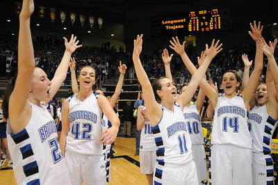 The Eagles celebrate their victory over Longmont' for the class 4A championship at the Coors Events Center in Boulder on Friday.   March 10, 2010 Staff photo/David R. Jennings