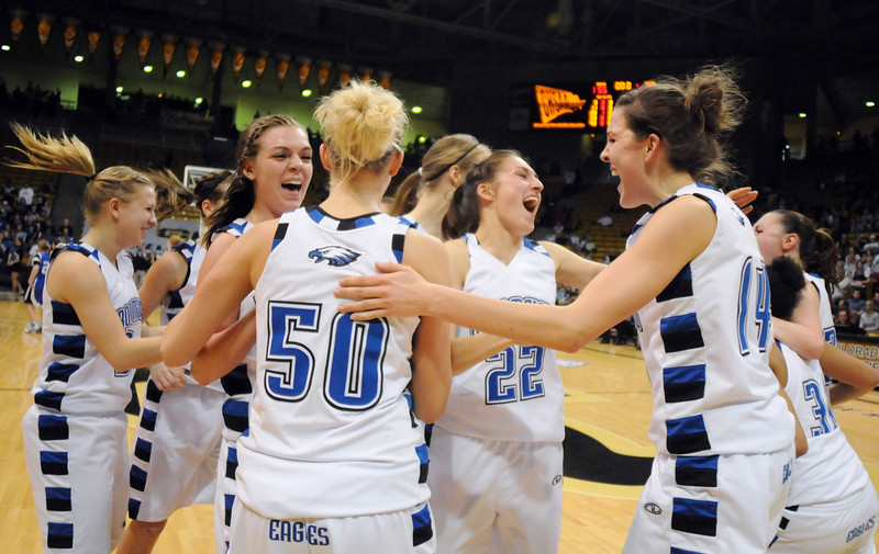Broomfield celebrates their victory over Longmont 55 - 47 to win their 4th straight  class 4A championship  at the Coors Events Center in Boulder on Friday.<br /> <br /> <br /> March 10, 2010<br /> Staff photo/David R. Jennings