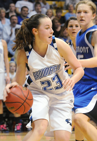 Broomfield's Sarah Hix drives the ball to the basket against Longmont during the class 4A championship game at the Coors Events Center in Boulder on Friday.<br /> <br /> <br /> March 12, 2010<br /> Staff photo/David R. Jennings