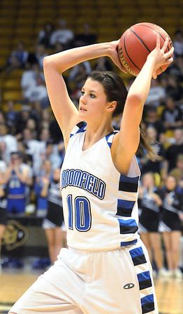 Broomfield's Autumn Chase passes the ball during play against Longmont in the class 4A championship game at the Coors Events Center in Boulder on Friday.<br /> <br /> <br /> March 12, 2010<br /> Staff photo/David R. Jennings