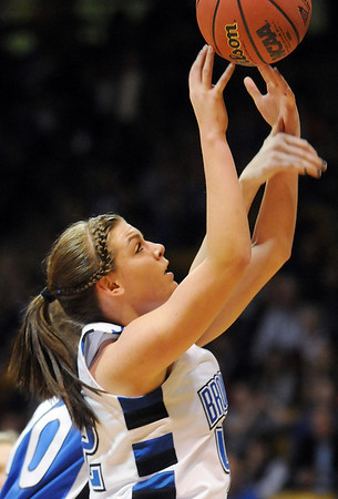 Broomfield's Renae Waters goes to the basket against Longmont during the class 4A championship game at the Coors Events Center in Boulder on Friday.<br /> <br /> <br /> March 10, 2010<br /> Staff photo/David R. Jennings