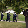 The combined North Metro Fire and Broomfield Police Honor Guard march the flag from the 9/11 Memorial for Thursday's 8th Annual Flag Retirement Ceremony at the Community Park Amphitheater.<br /> <br /> June 14, 2012 <br /> staff photo/ David R. Jennings