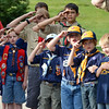 Boy Scouts and Cub Scouts salute as the 9/11 Memorial falg is presented for retirement during Thursday's 8th Annual Flag Retirement Ceremony at the Community Park Amphitheater.<br /> <br /> June 14, 2012 <br /> staff photo/ David R. Jennings