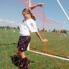 Katharine Carpenter, 10, untangles herself from the net while getting the ball during the Broomfield Blast technical touch camp at the Broomfield County Commons Park on Wednesday.<br /> <br /> July 22,2009<br /> staff photo/David Jennings