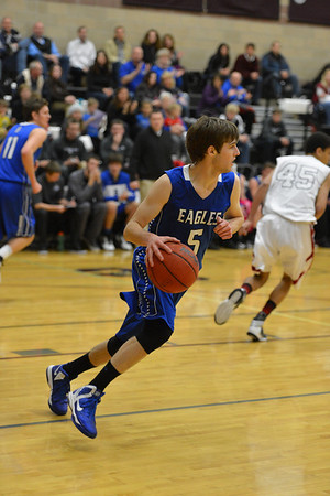 Broomfield's Tarren Macrae takes the ball downcourt against Silver Creek during Friday's game at Silver Creek High.<br /> January 11, 2013<br /> staff photo/ David R. Jennings