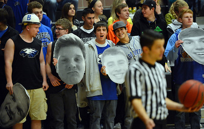 Broomfield fans hold photos of players during Friday's game against Silver Creek at Silver Creek High. January 11, 2013 staff photo/ David R. Jennings