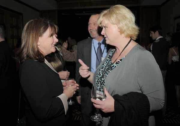 Linda Fahrenbruch, left, visits with Carina Martin during the Broomfield Chamber of Commerce annual dinner at the Renaissance Boulder Flatiron Hotel on Thursday.<br /> <br /> January 27, 2011<br /> staff photo/David R. Jennings