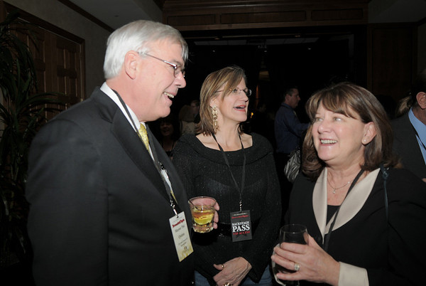 Mayor Pat Quinn, left, chats with Bette Erickson and Linda Fahrenbruch during the Broomfield Chamber of Commerce annual dinner at the Renaissance Boulder Flatiron Hotel on Thursday.<br /> <br /> January 27, 2011<br /> staff photo/David R. Jennings