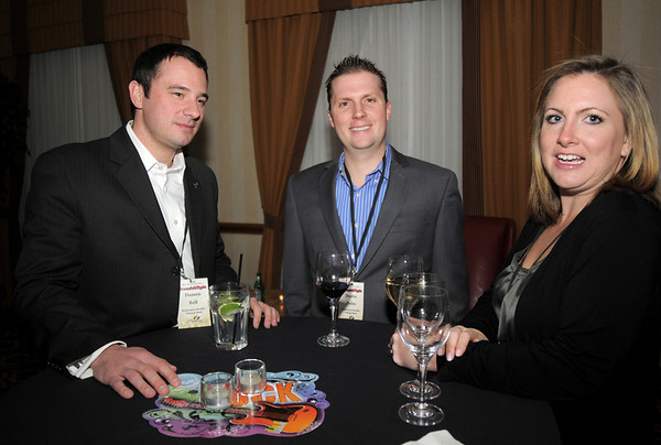 Damon Bell, left,  Dustin and Erin Dolin at the Broomfield Chamber of Commerce annual dinner at the Renaissance Boulder Flatiron Hotel on Thursday.<br /> <br /> January 27, 2011<br /> staff photo/David R. Jennings