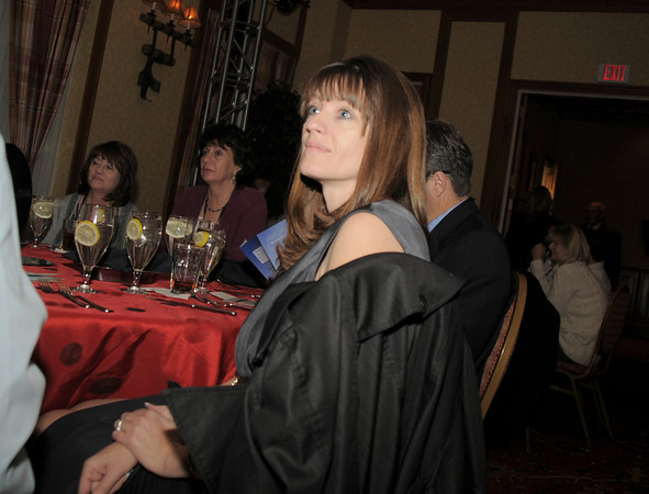 Chamber members watch videos during the Broomfield Chamber of Commerce annual dinner at the Renaissance Boulder Flatiron Hotel on Thursday.<br /> <br /> January 27, 2011<br /> staff photo/David R. Jennings