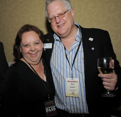 Lori Cox, left, and Bob Gaiser during the Broomfield Chamber of Commerce annual dinner at the Renaissance Boulder Flatiron Hotel on Thursday.<br /> <br /> January 27, 2011<br /> staff photo/David R. Jennings