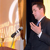 Patrick Ireland managing director with Northwestern Mutual and survivor Columbine High school shootings speaks during the Broomfield Chamber of Commerce annual dinner at the Renaissance Boulder Suites Hotel on Friday.<br />  <br /> January 22, 2010<br /> Staff photo/David R. Jennings